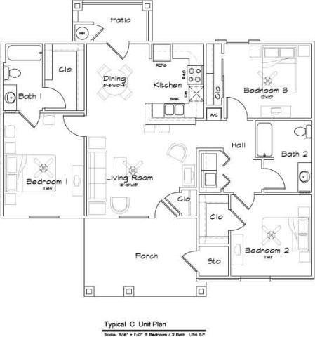 1,134 sq. ft. Mkt floor plan