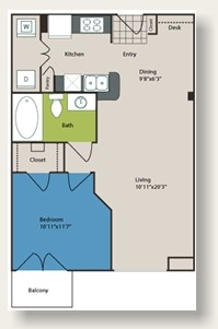 620 sq. ft. to 727 sq. ft. A1 floor plan