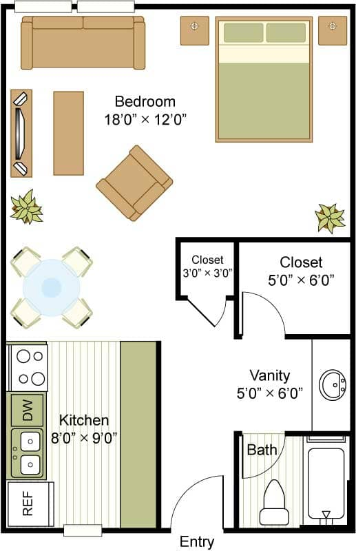 447 sq. ft. A floor plan