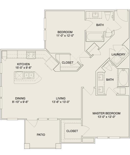 1,095 sq. ft. B3 floor plan