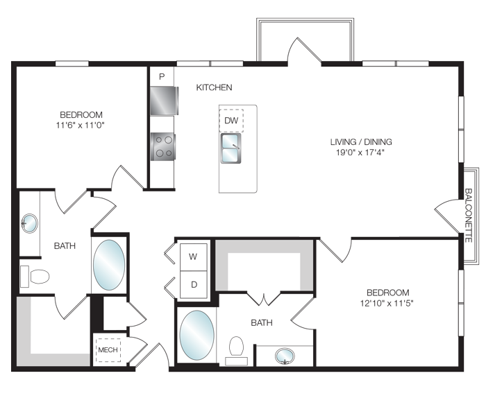 1,194 sq. ft. B3.5 floor plan