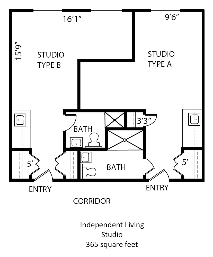 365 sq. ft. floor plan