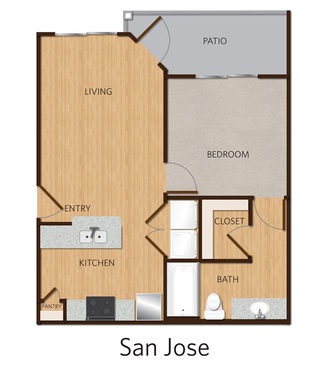 588 sq. ft. San Jose A1 floor plan