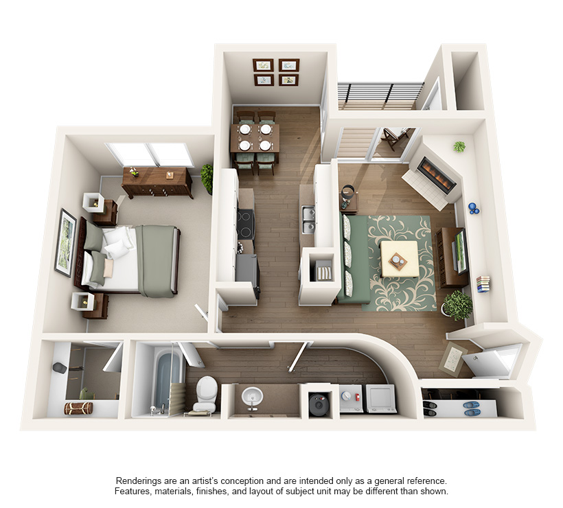 760 sq. ft. 1A floor plan