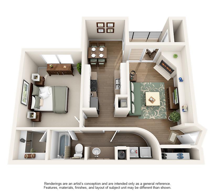 760 sq. ft. 1A floor plan