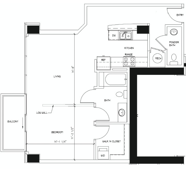 800 sq. ft. MICHELANGELO floor plan