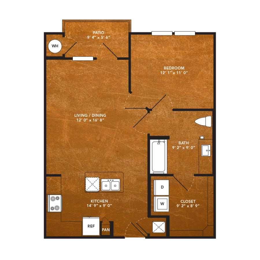 705 sq. ft. A5 floor plan