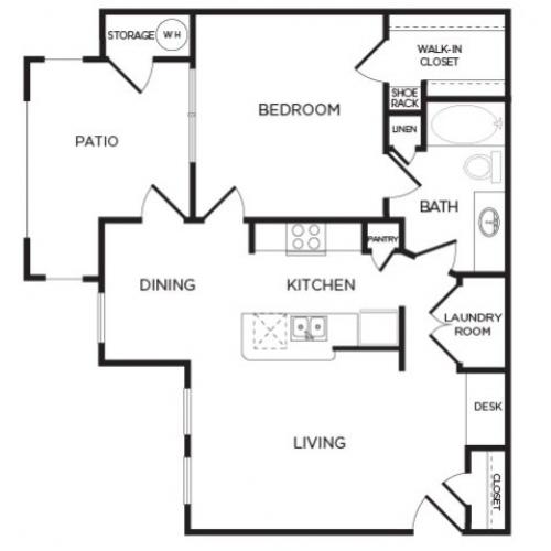 800 sq. ft. A8 floor plan