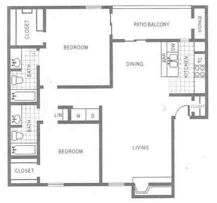 1,012 sq. ft. B1 floor plan