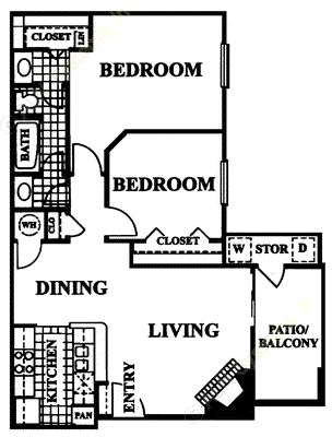 848 sq. ft. Maltese floor plan