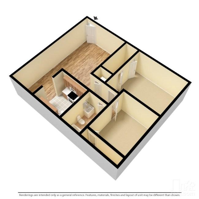 792 sq. ft. Down floor plan