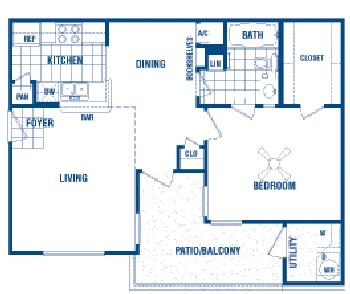 660 sq. ft. Liam floor plan
