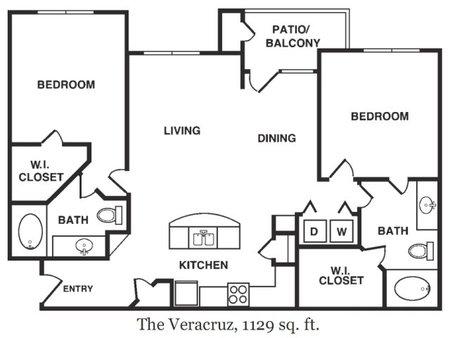 1,129 sq. ft. Veracruz floor plan