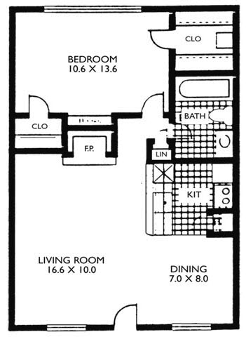 640 sq. ft. VP A3 floor plan