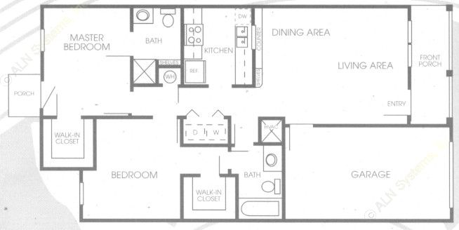 888 sq. ft. 60% floor plan