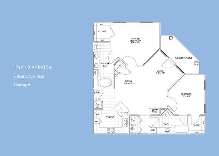 1,108 sq. ft. Creekside floor plan