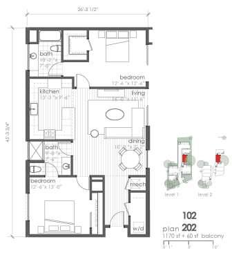 1,170 sq. ft. B3 floor plan