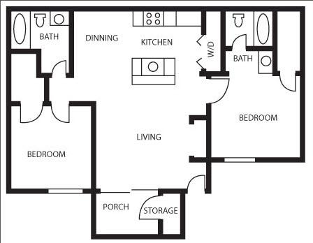 876 sq. ft. Scarlet Maple floor plan