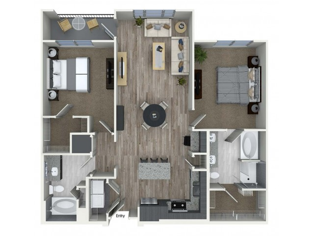 1,172 sq. ft. B5 floor plan