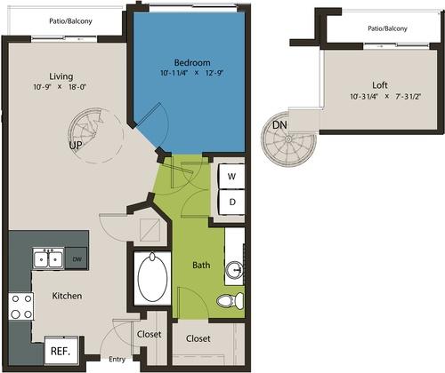 798 sq. ft. A1B-L1 floor plan