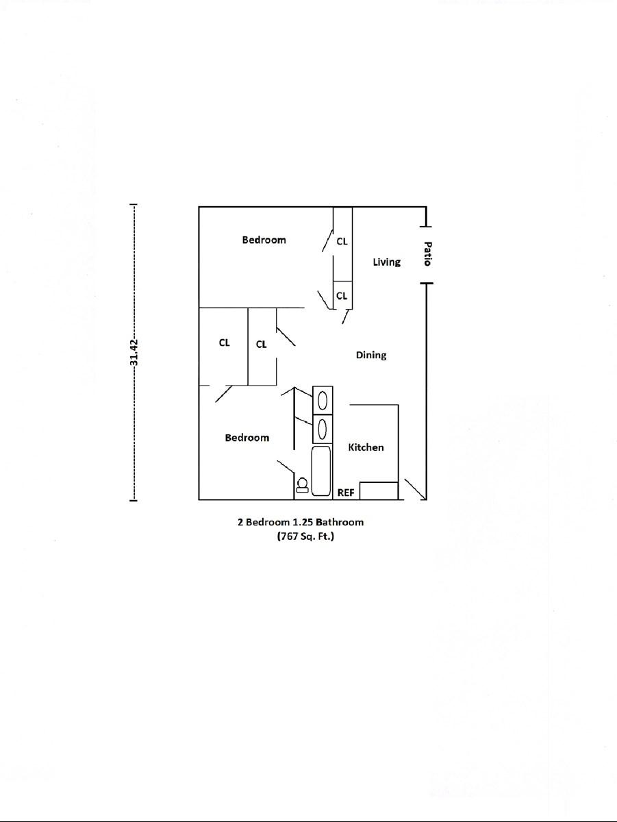 767 sq. ft. floor plan