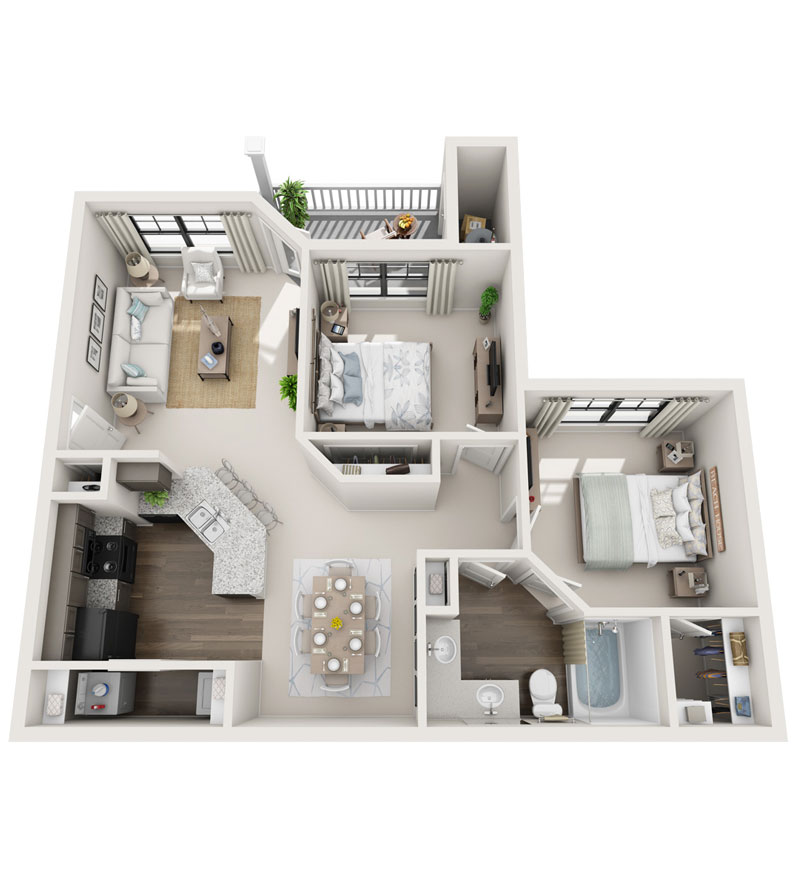 979 sq. ft. B1 floor plan