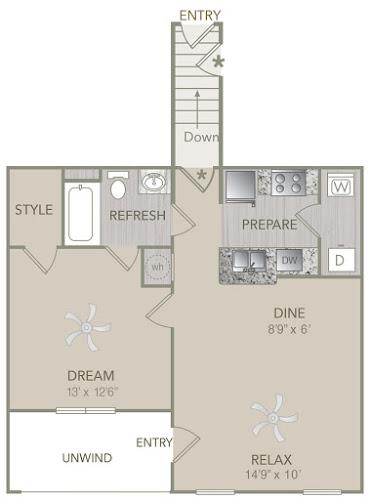 808 sq. ft. A1U floor plan