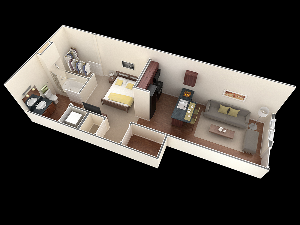 525 sq. ft. Holly floor plan