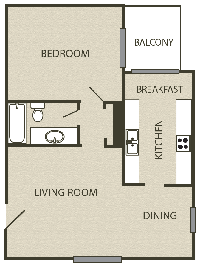 787 sq. ft. A2 floor plan