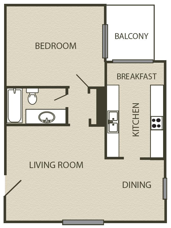 787 sq. ft. A2 floor plan