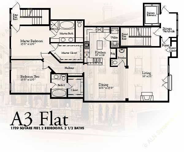 1,739 sq. ft. A3 floor plan