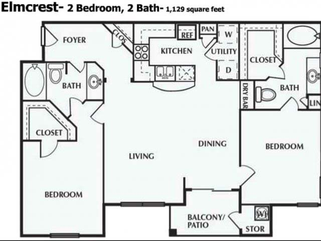 1,129 sq. ft. B floor plan