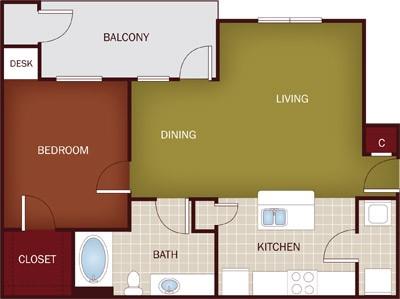 772 sq. ft. A4 floor plan
