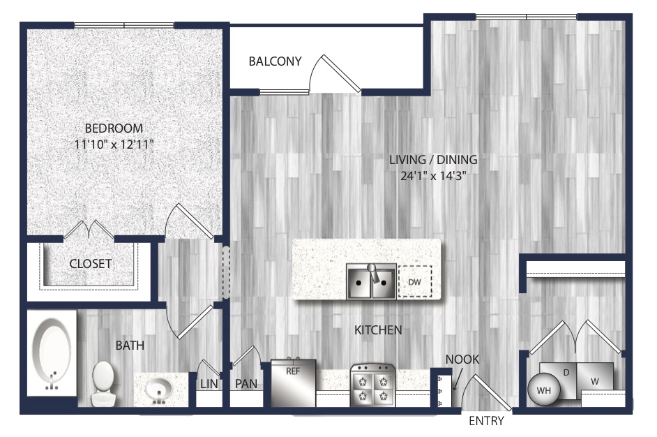 758 sq. ft. to 870 sq. ft. A5 floor plan