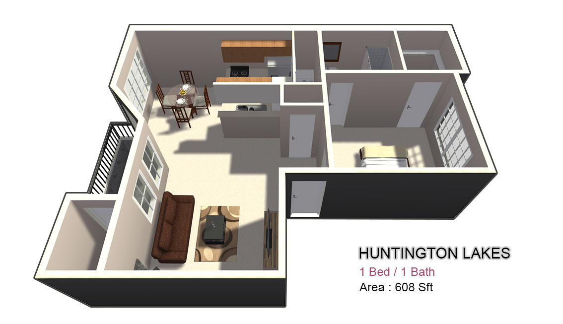 608 sq. ft. 1X1 floor plan