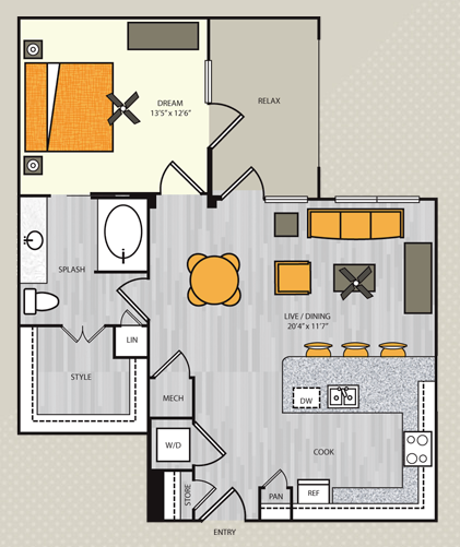 858 sq. ft. A8 floor plan