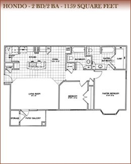 1,159 sq. ft. HONDO floor plan