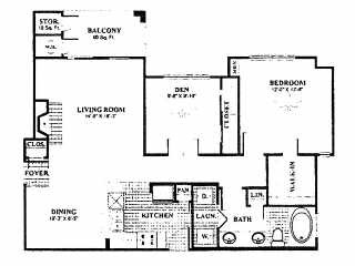 956 sq. ft. A8 floor plan