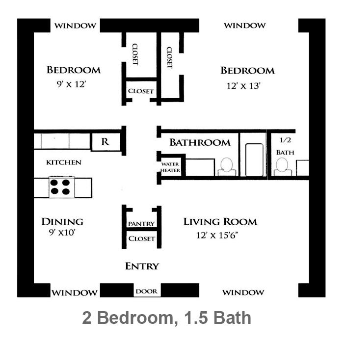 910 sq. ft. Azalea floor plan