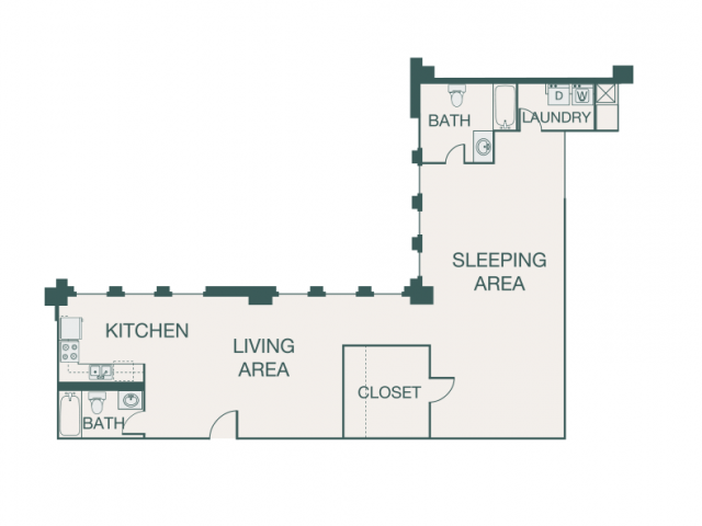 1,229 sq. ft. P floor plan