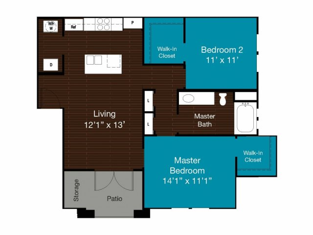 899 sq. ft. B1 floor plan