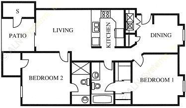 981 sq. ft. B2 floor plan