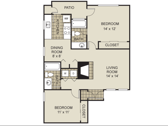948 sq. ft. B6-C floor plan
