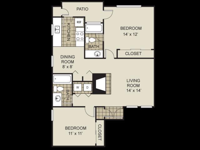 948 sq. ft. B6-C floor plan