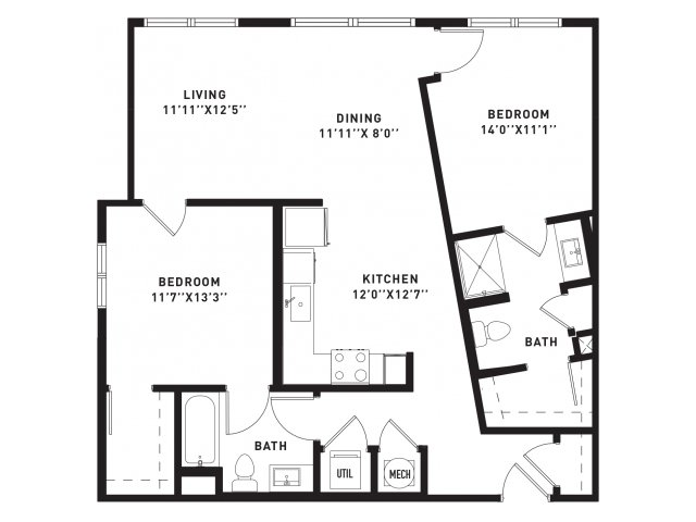 1,026 sq. ft. B1Alt floor plan