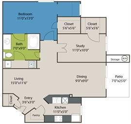958 sq. ft. A5 floor plan