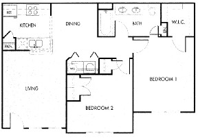 850 sq. ft. 60% floor plan