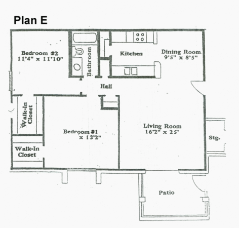 925 sq. ft. E floor plan