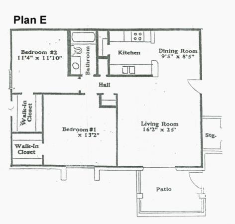 925 sq. ft. E floor plan