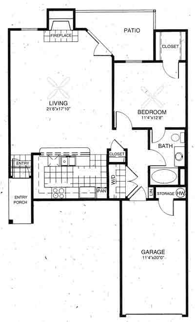 878 sq. ft. Oxford floor plan